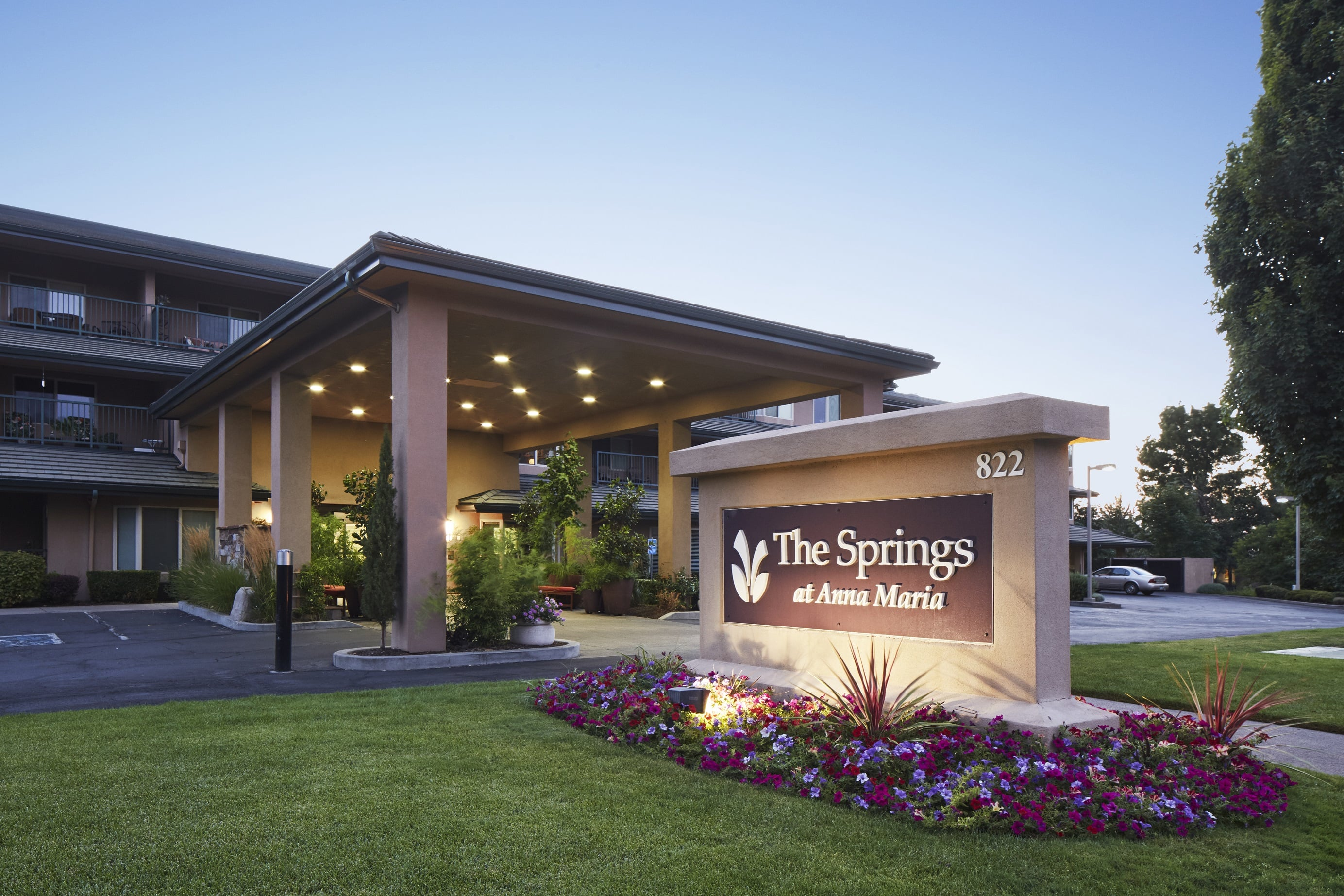 Beautiful exterior of senior living facility in Medford