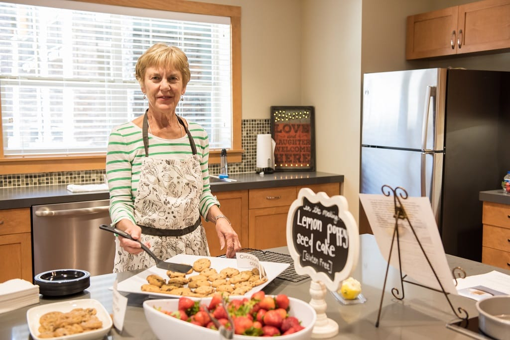 Residents enjoy the test kitchen at The Springs at Greer Gardens in Eugene, OR