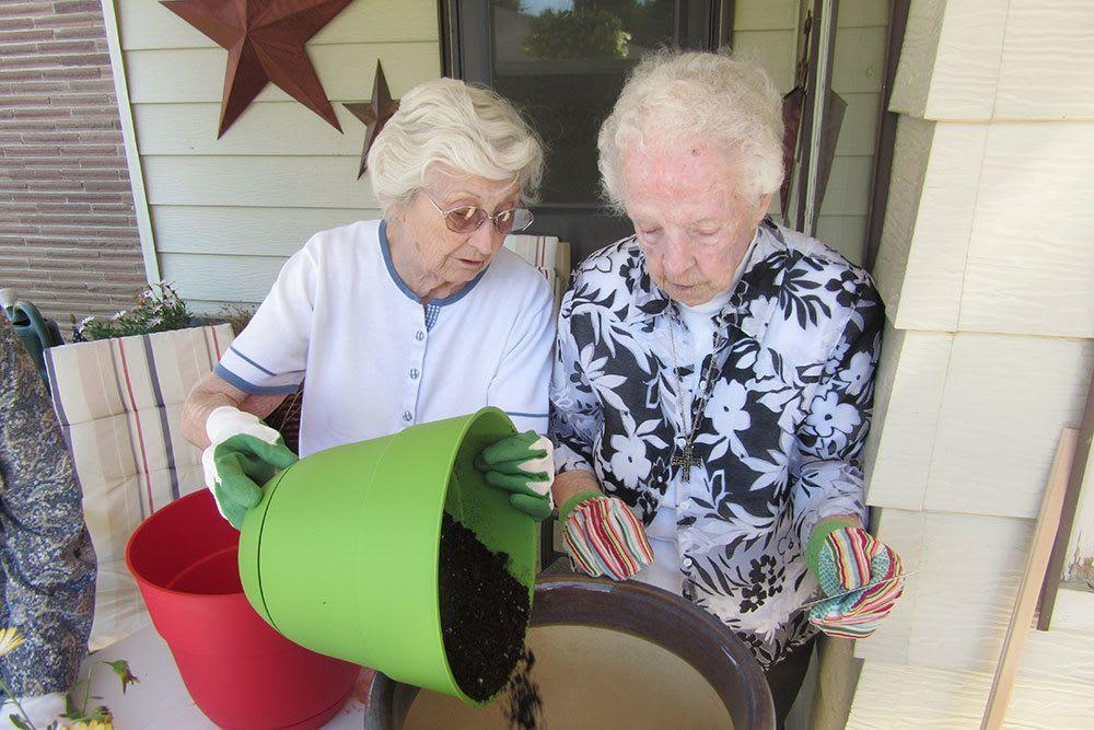 Senior ladies gardening together
