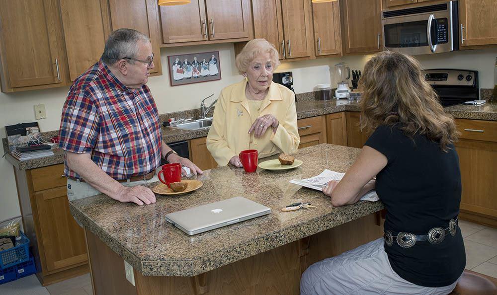 Chatting and enjoying company at senior living in Hillsboro, OR