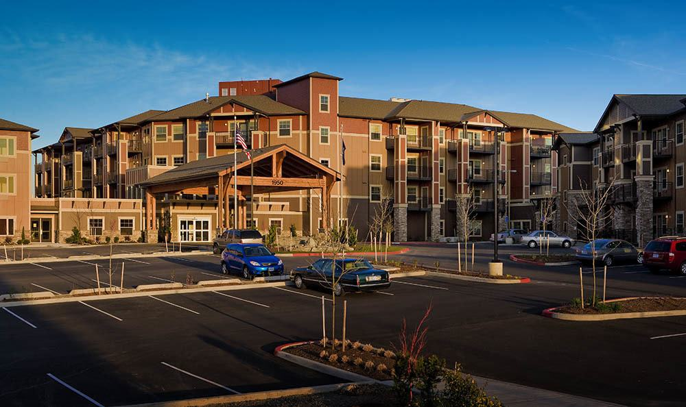 Sun setting above our luxurious senior living facility in Hillsboro, OR