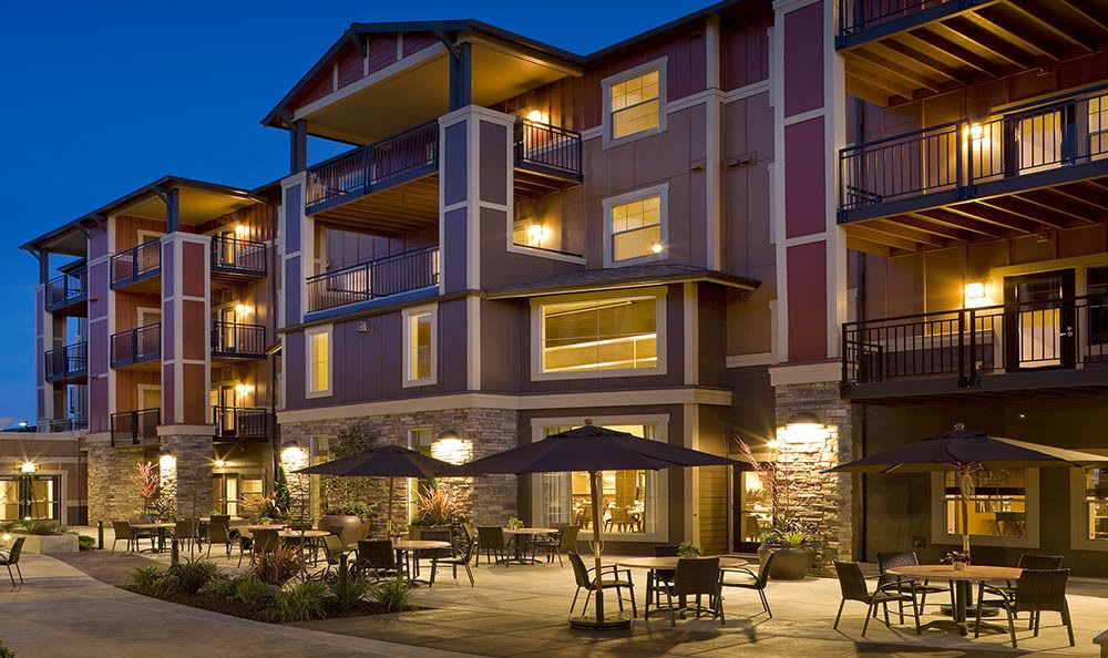 Enjoy a vivid evening on our patio at senior living in Hillsboro, OR