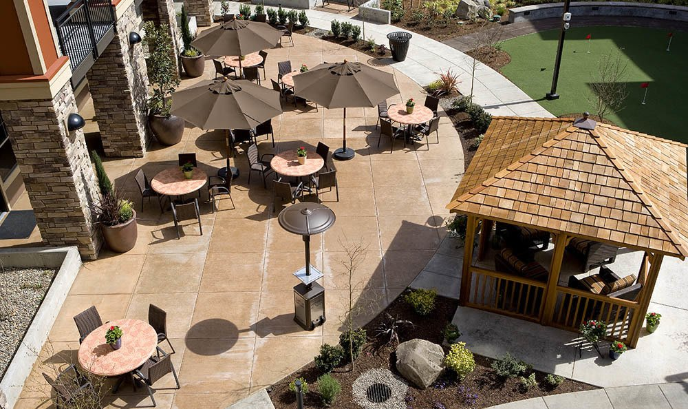 Spacious and sunny patio available for endless days of fun at our senior living facility in Hillsboro, OR