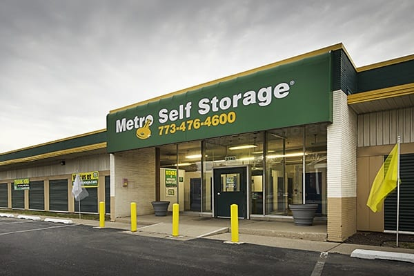 Leasing office exterior view at Metro Self Storage in Chicago, Illinois