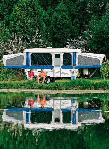 RV parked by a lake near Metro Self Storage in Mettawa, Illinois