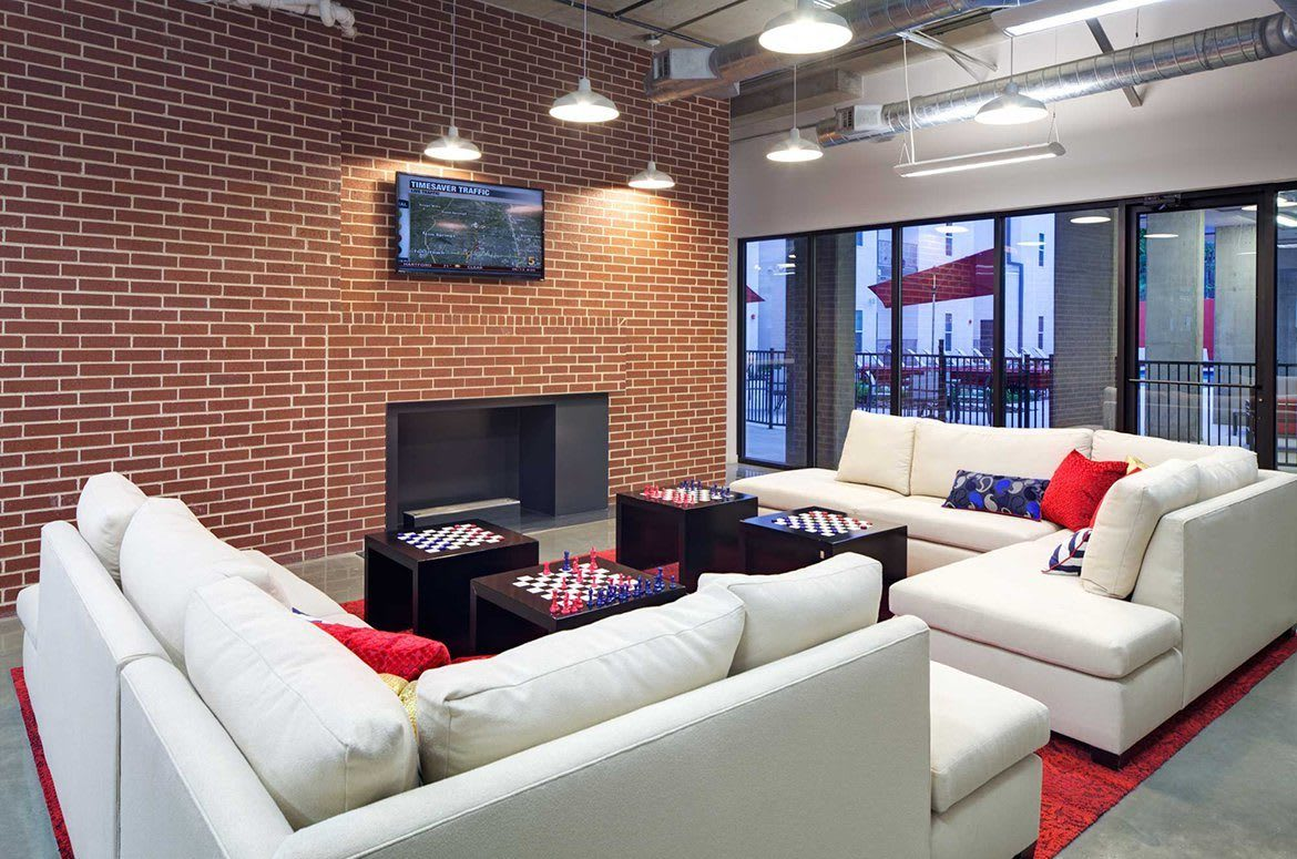 There's even a fireplace in the lounge, for those colder winter days here at The Academy at Frisco.