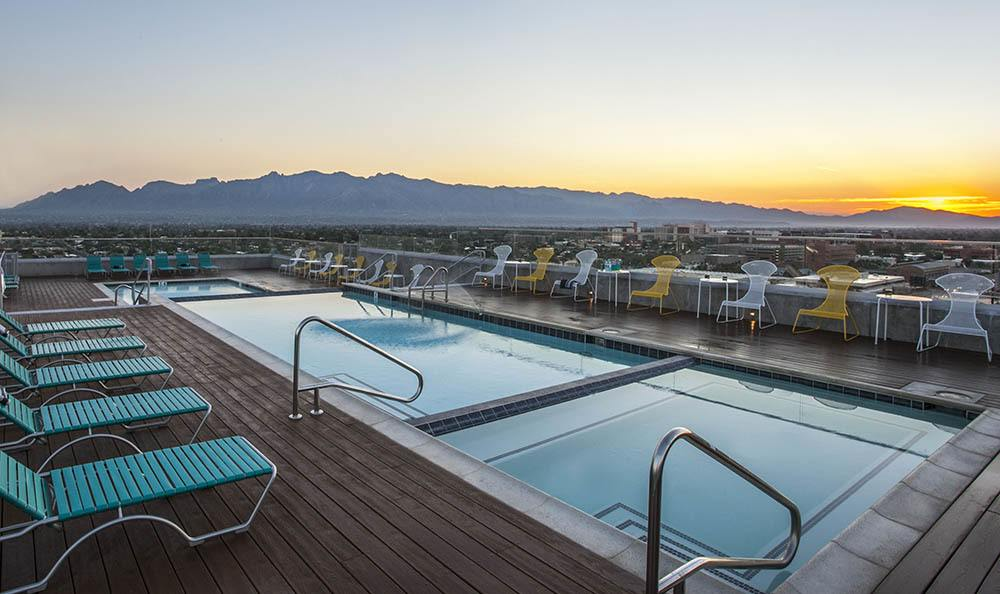 Tucson Apartments Rooftop Pools At Dusk