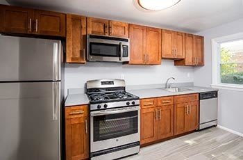 Kitchen with appliances at Springfield apartment community