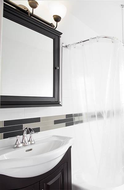 Beautifully styled bathroom at Orchard Gardens Apartments