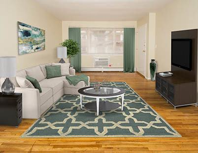 Modern living room at Douglass Gardens Apartments