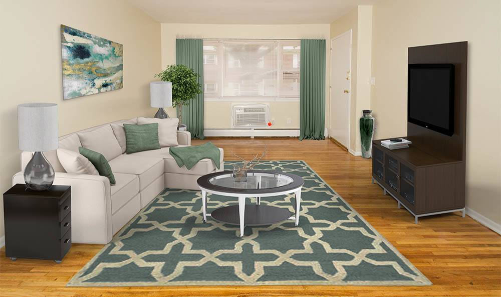 Douglas Gardens Living Room in Douglass Gardens Apartments, NJ