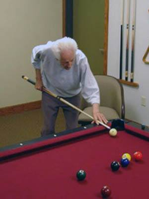 Man playing Billiards at Moran Vista