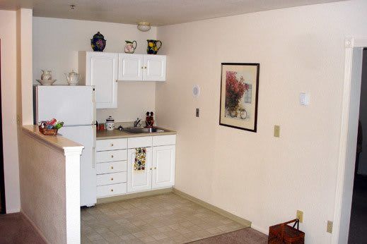 spacious kitchenette inside Woodway Assisted Living