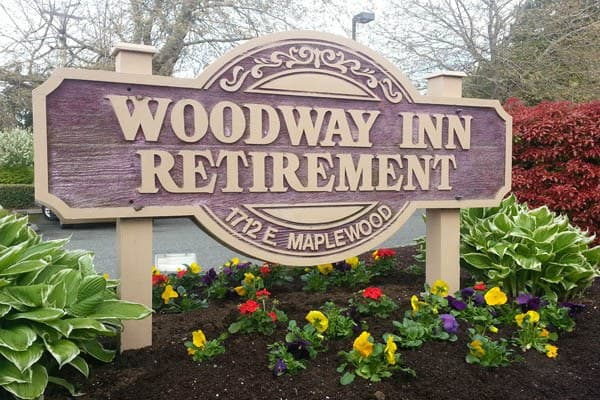 Woodway Assisted Living front entrance sign in Bellingham