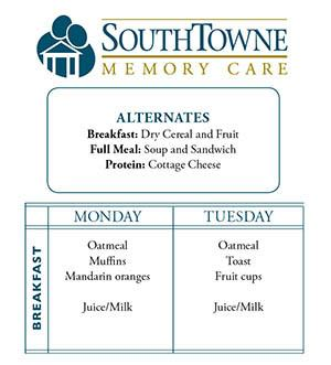 Sample Menu at SouthTowne Memory Care