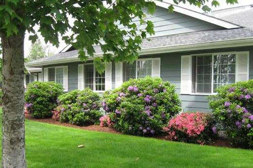 fully landscaped side of Bridgecreek Memory Care in OR