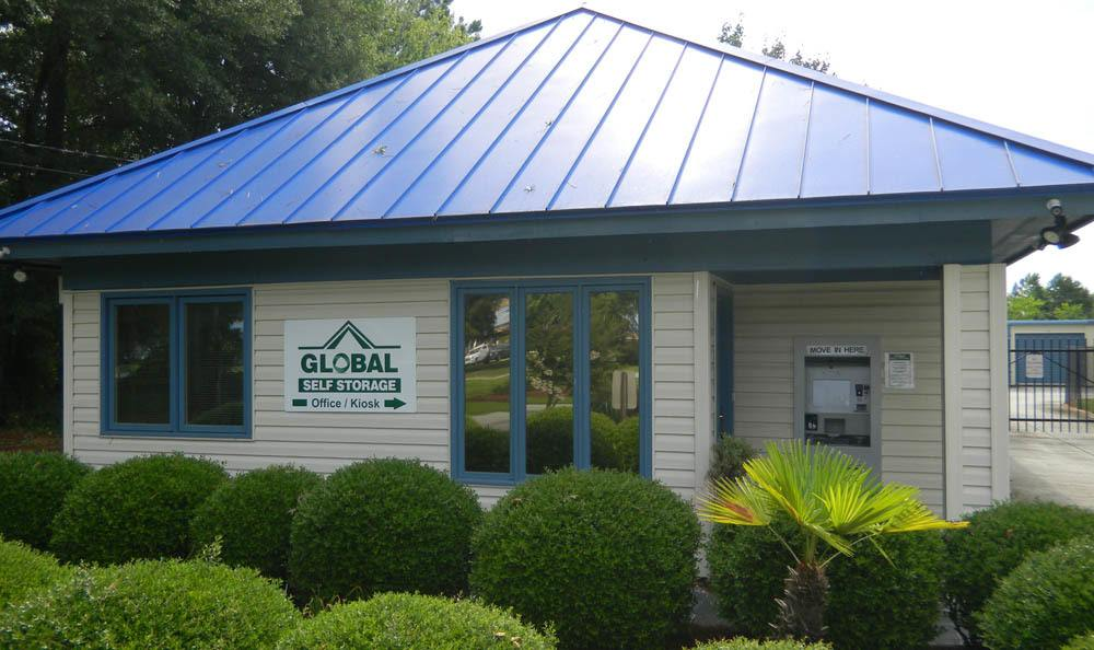 entrance and kiosk at Global Self Storage in Summerville, SC