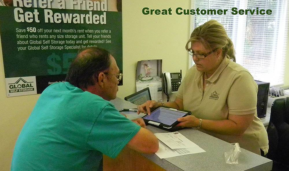 Great customer service at Global Self Storage in Summerville, SC