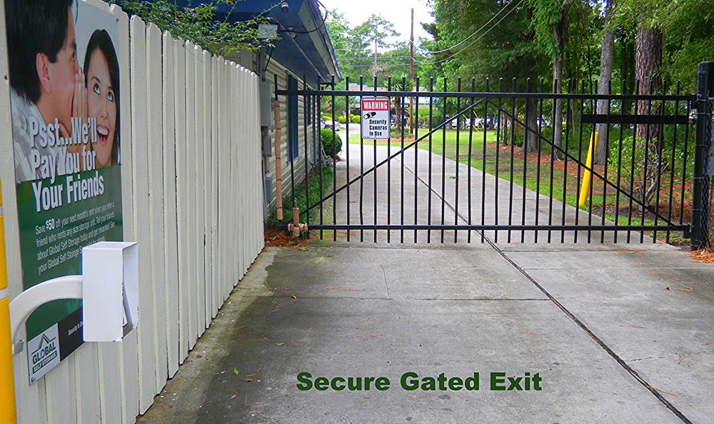 Secure gated exit at Global Self Storage in Summerville, SC