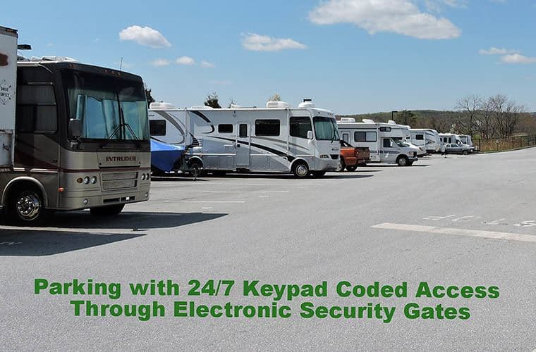 Parking with 24/7 keypad coded access through electronic security gates at Global Self Storage