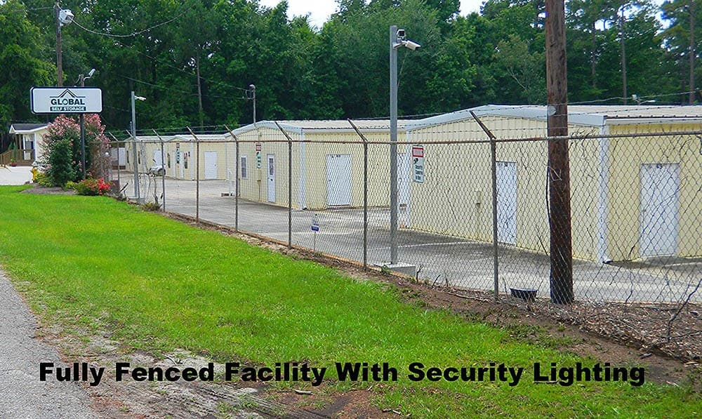 Fully fenced facility with security lighting at Global Self Storage