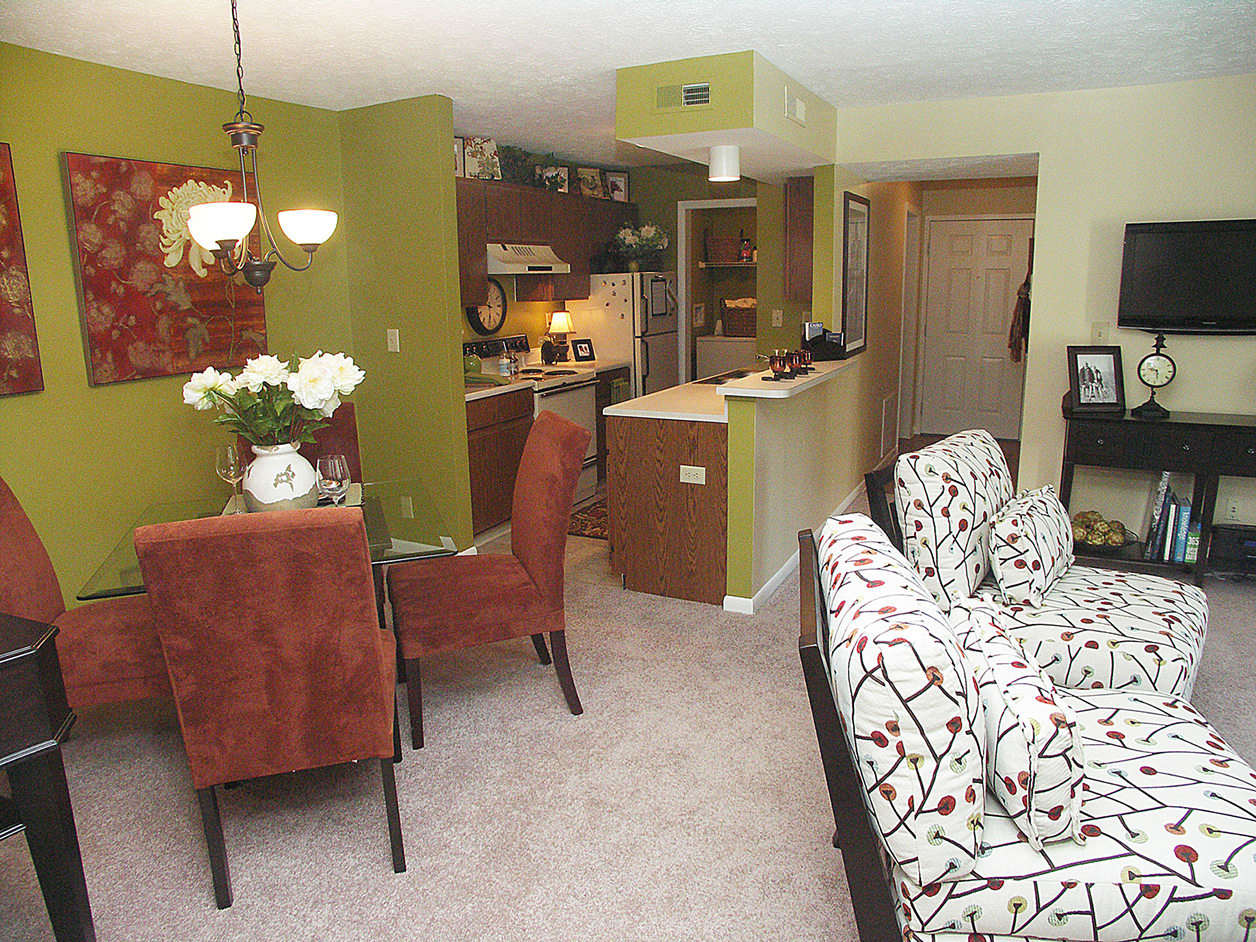Living room and dining room at Fox Chase Apartments