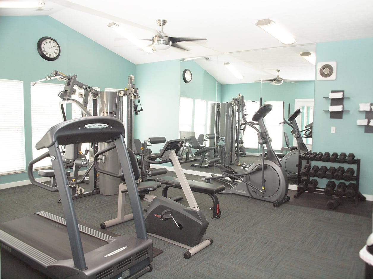 Fitness center at Fox Chase Apartments