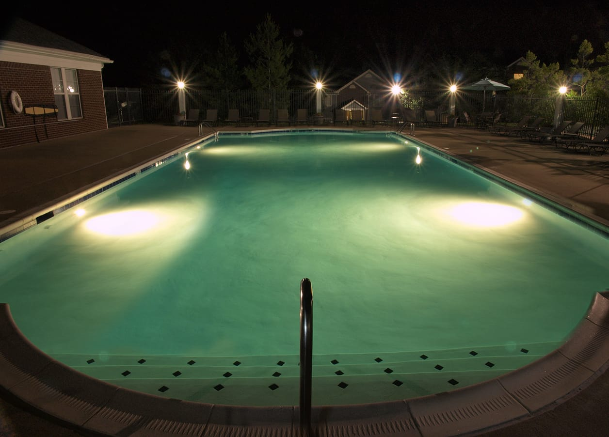 Pool at night at Shadow Ridge in Louisville, KY