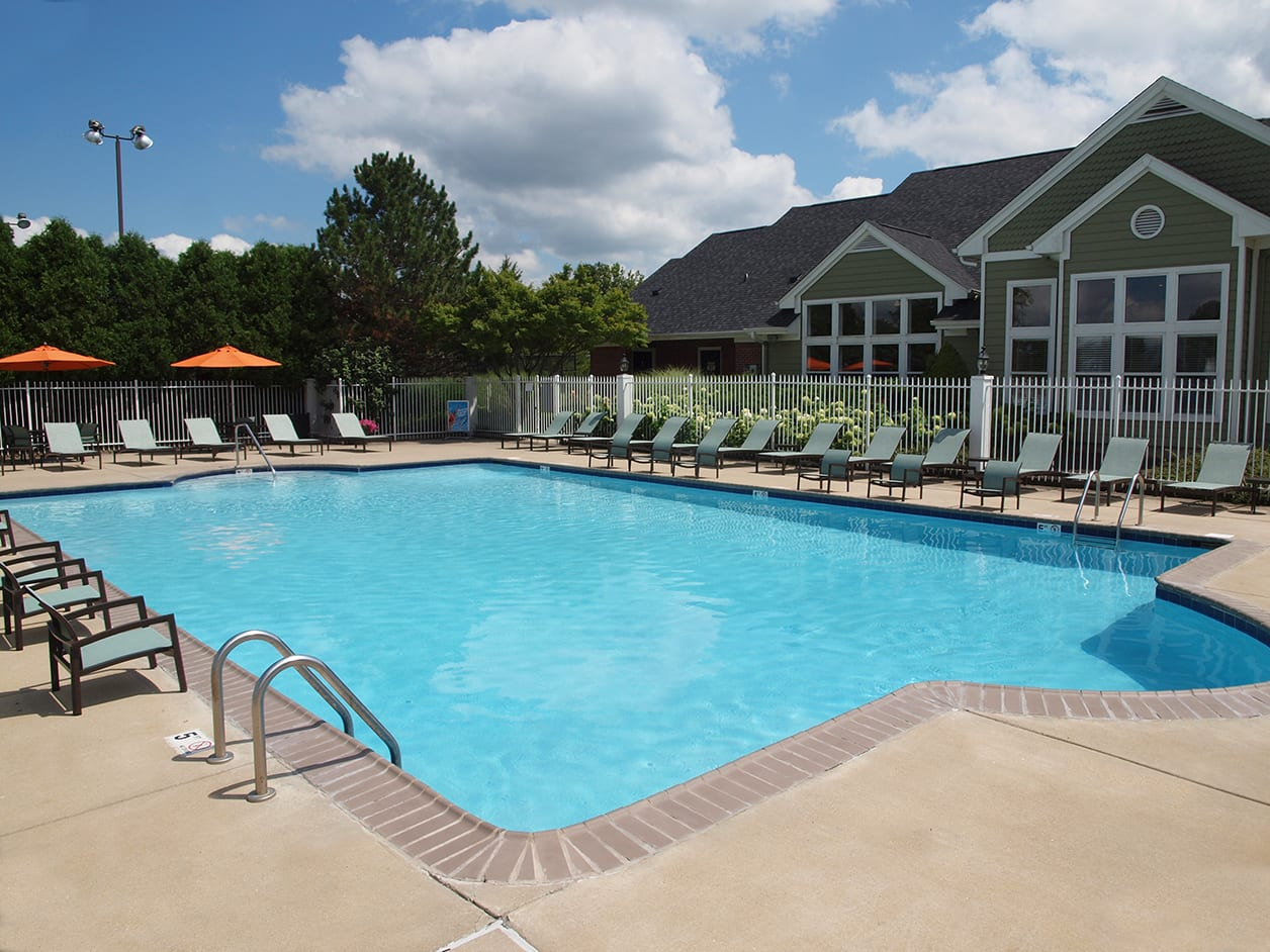 Outdoor pool at Wellington Place Apartments