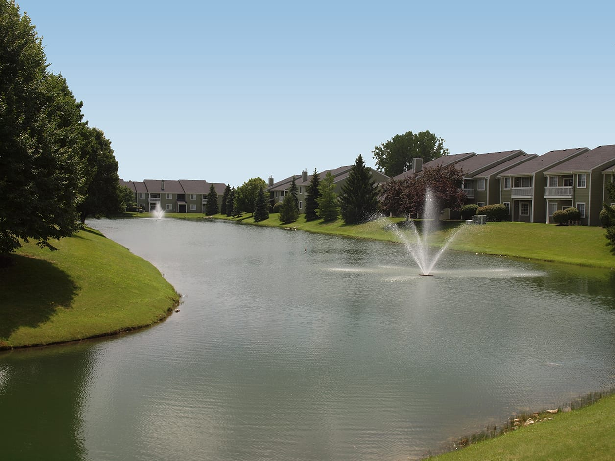 Fountain in pond at Emerald Lakes in Greenwood, Indiana