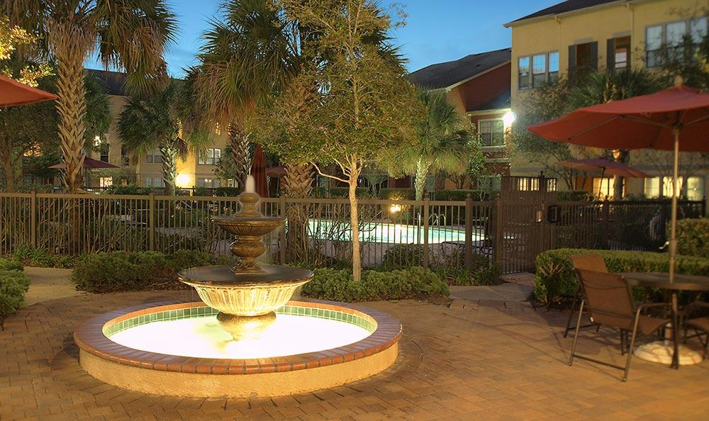 Courtyard at night at Summerwind Apartments