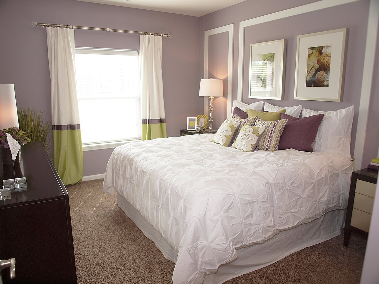 Beautiful bedroom at Meridian on Shelbyville in Louisville, Kentucky