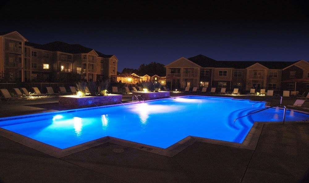 Pool view at night at Meridian on Shelbyville