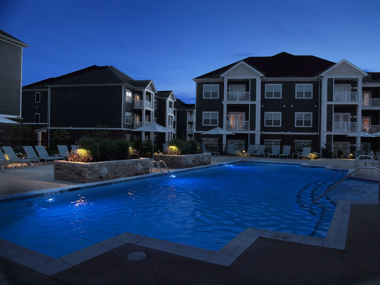 Pool at night at Kendal on Taylorsville in Louisville, Kentucky