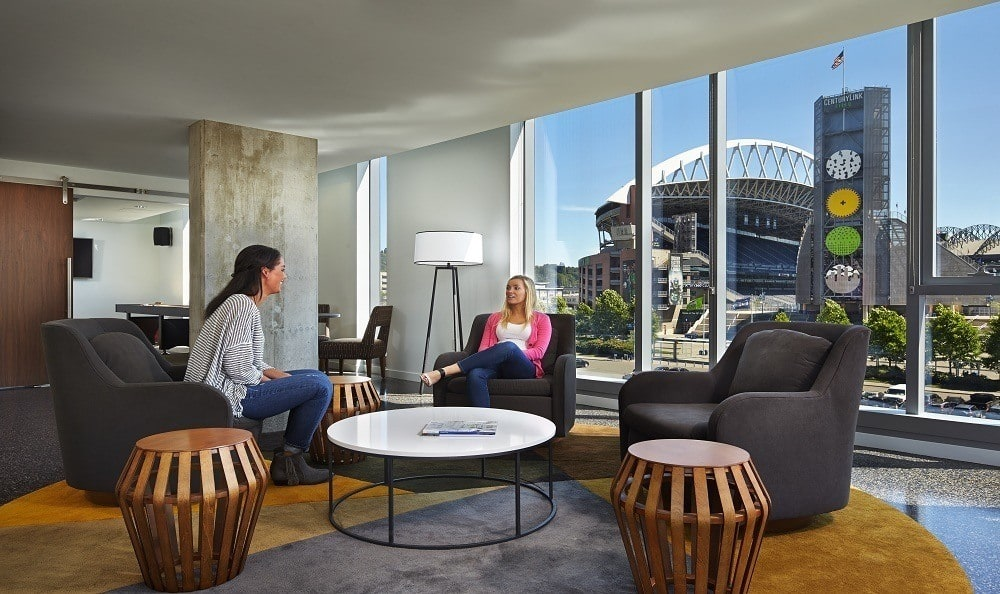 Resident lounge at The Wave Apartments in downtown Seattle, WA