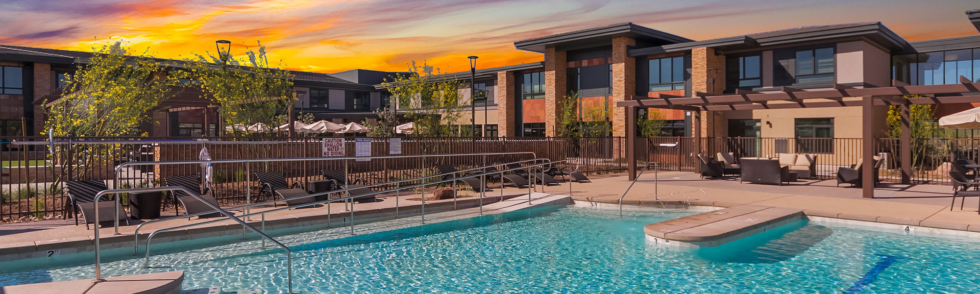 Outdoor pool at senior living in Seattle