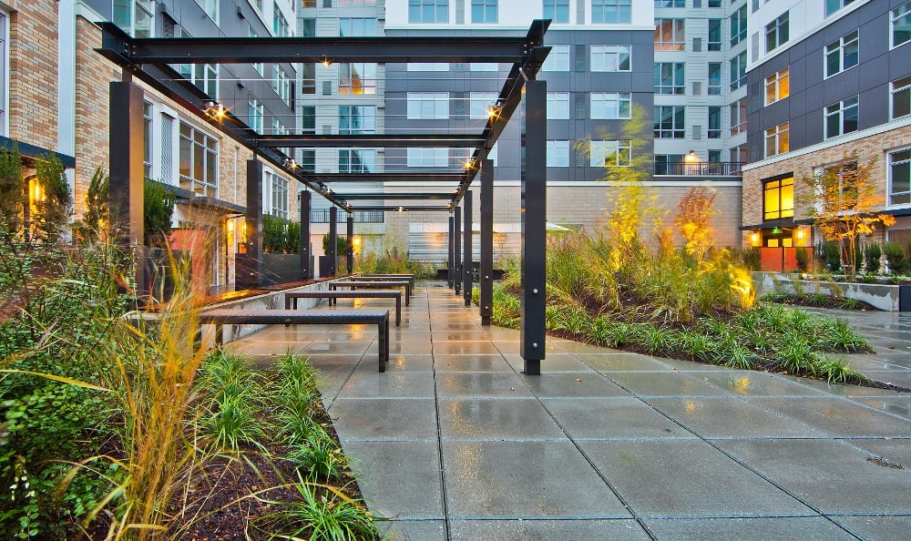 Outdoor courtyard at The Lyric in Seattle, Washington