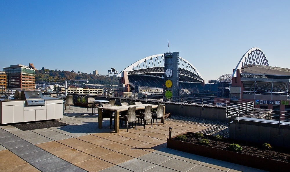 Rooftop Lounge with Views of Century Link Field at The Nolo in Seattle, WA
