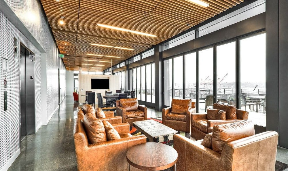 Resident indoor lounge at The Nolo at Stadium Place in Seattle, Washington