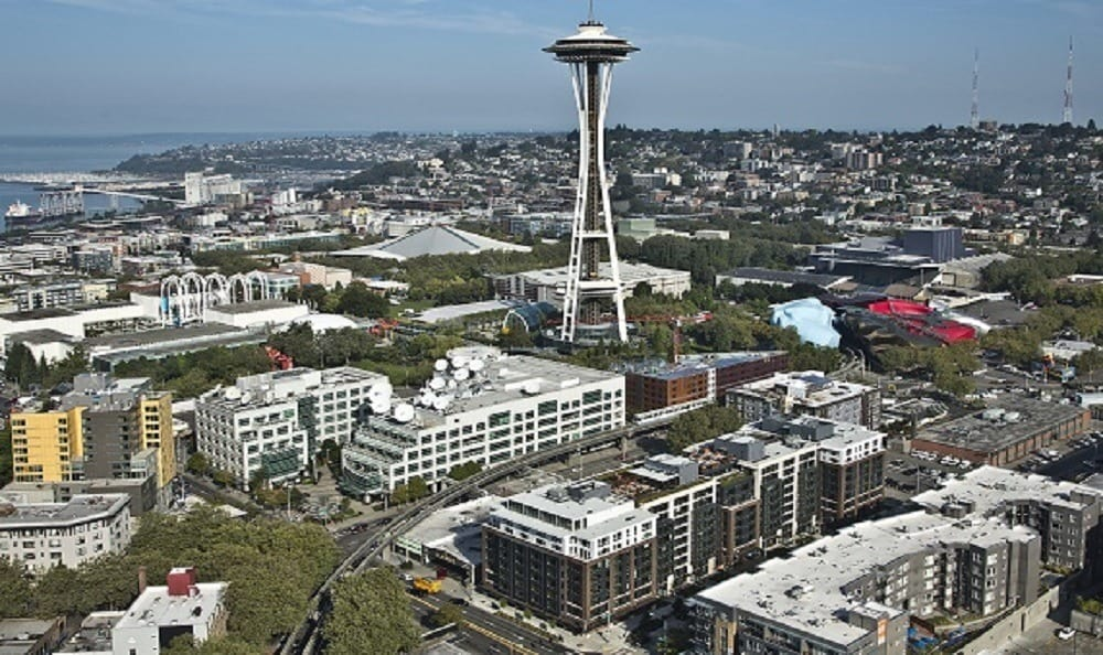 The Space Needle and The Century Seattle Center Apartments