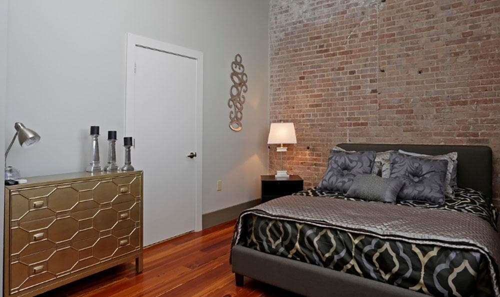 Spacious bedroom at Josephine Lofts in New Orleans, LA