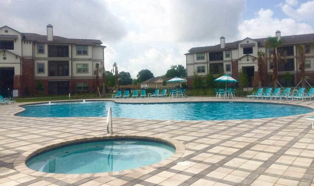 Resort-style pool at our apartments in Houma, LA