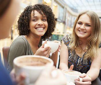 Friends enjoying coffee near Belforest Villas in Daphne, Alabama