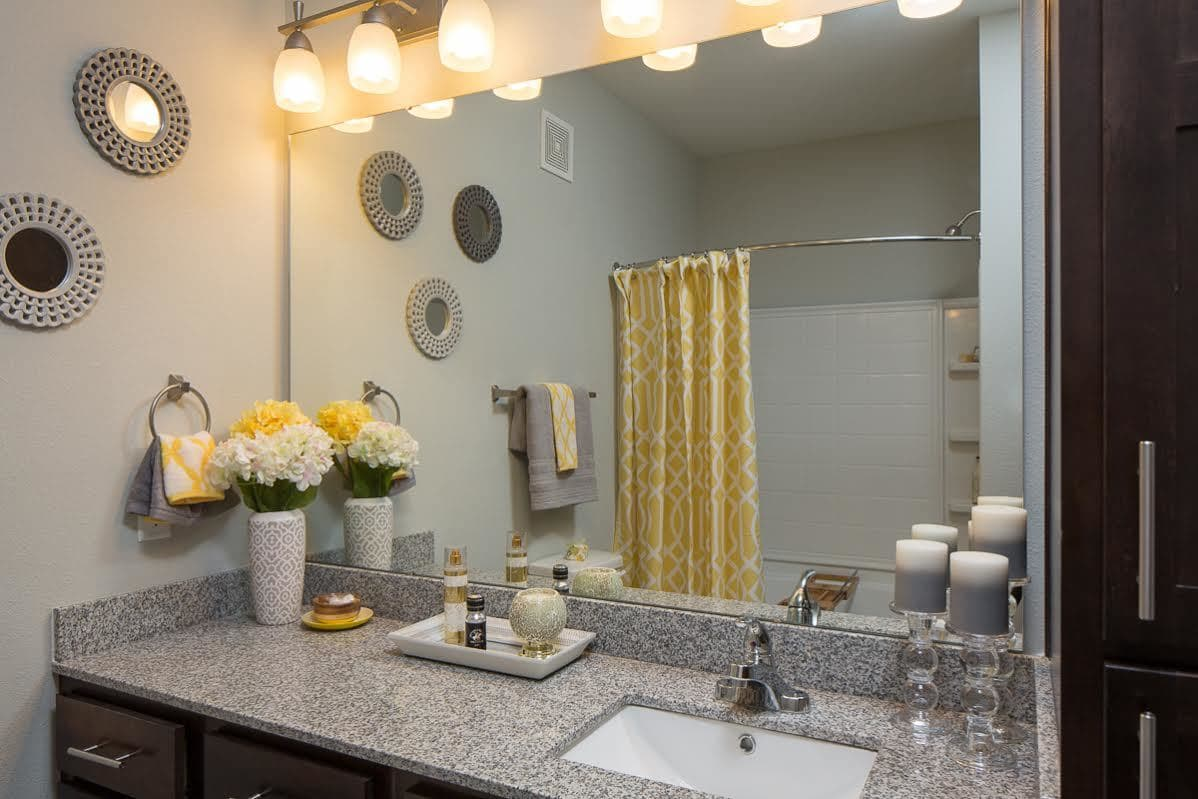Large vanity in the bathroom at West Woods Apartments in Pensacola, FL