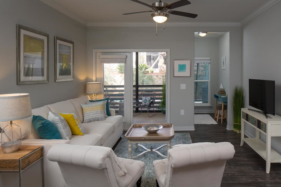 Comfortable living room at West Woods Apartments in Pensacola, FL