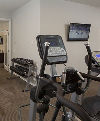 Fitness room at West Woods Apartments in Pensacola, FL