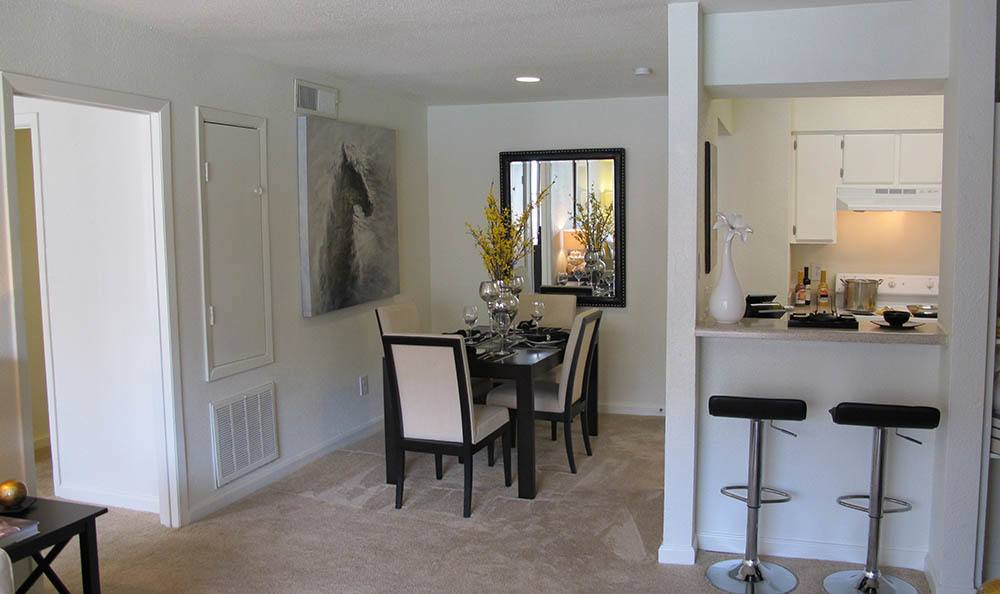 Dining room area at affordable apartments