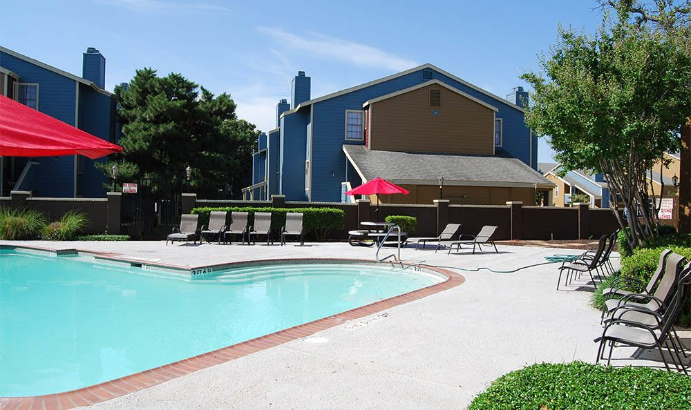 Resort-style pool at apartments in Fort Worth