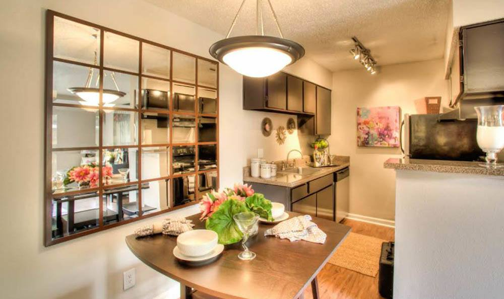 Designer kitchen and dining room at apartments in Houston
