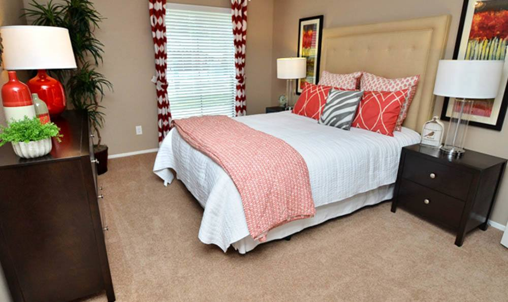 Well decorated bedroom at affordable apartments in Bay City